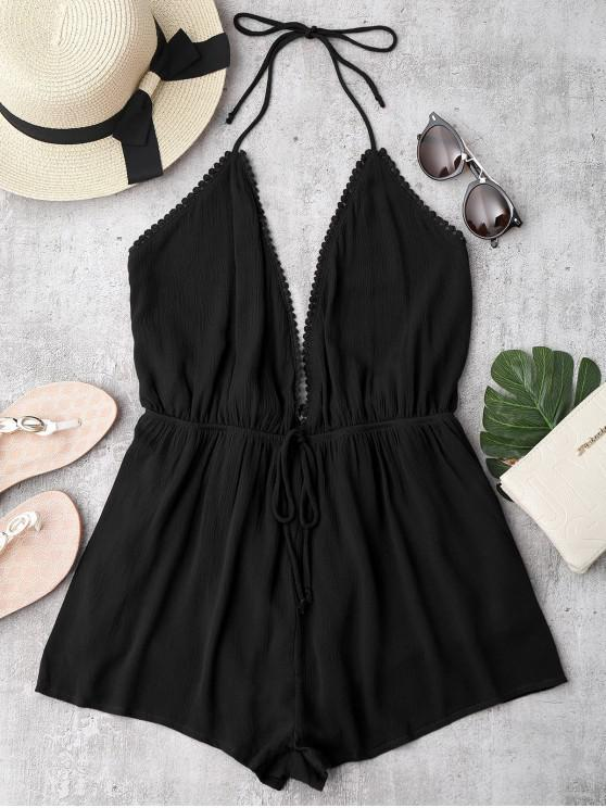 unique Plunge Halter Beach Cover Up Romper - BLACK M