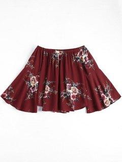 Haut Floral à épaule Dénudée Manche évasée - Rouge Vineux  M