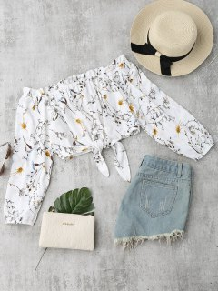Self Tied Floral Off Shoulder Top - White M
