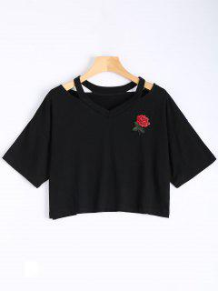 Floral Embroidered Cold Shoulder Top - Black S