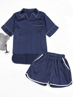 High Low Satin Top With Piping Shorts - Purplish Blue L