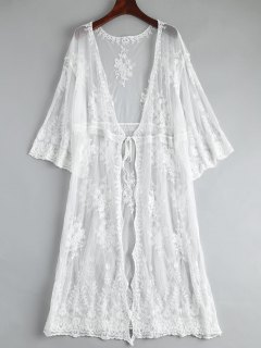 Embroidered Oversized Lace Beach Kimono Cover Up - White
