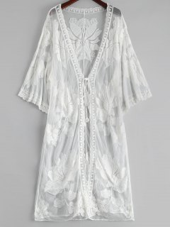 Floral Embroidered Sheer Lace Kimono Cover Up - White