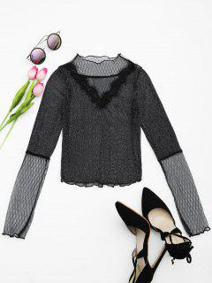 Sheer Glitter Mesh Crop Blouse - Black L