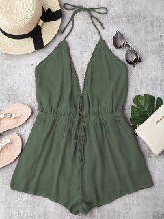 Plunge Halter Beach Cover Up Romper - Army Green M