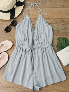 Plunge Halter Beach Cover Up Romper - Gray M