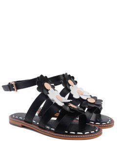 Flowers T Bar Flat Heel Sandals - Black 39