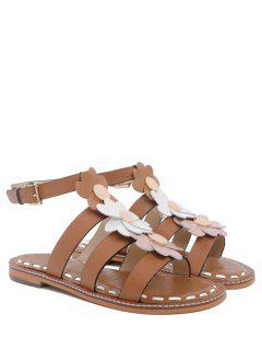 Flowers T Bar Flat Heel Sandals - Brown 38