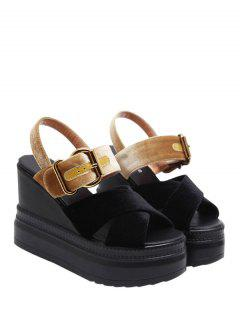 Platform Buckle Strap Velvet Sandals - Black And Golden 38