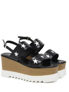 Platform Two Tone Star Pattern Sandals - Black 39