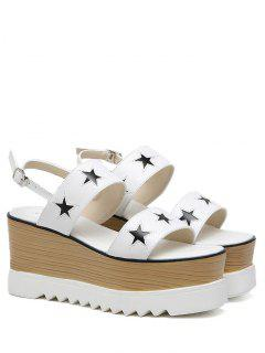 Platform Two Tone Star Pattern Sandals - White 38
