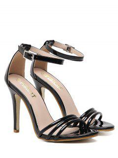 Ankle Strap Strappy Patent Leather Sandals - Black 39
