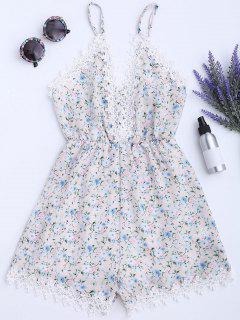 Lace Panel Floral Print Cami Romper - Floral Xl