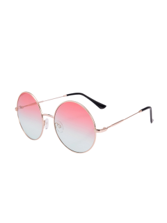 Metal Frame Round Ombre Sunglasses With Box - Pink