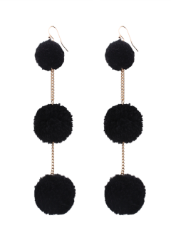 Fuzzy Ball Chain Hook Earrings - Black