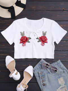 Floral Patched Lace Up Ribbed Crop Top - White M