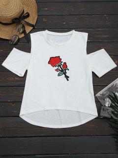 Hombro Frío Patched Alta Camiseta Baja - Blanco Xl
