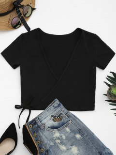 Cotton Wrap Cropped Top - Black