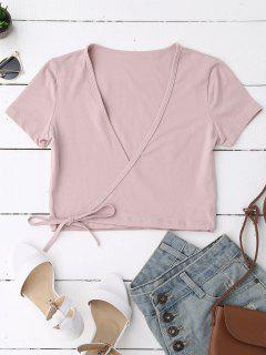 Cotton Wrap Cropped Top - Pink