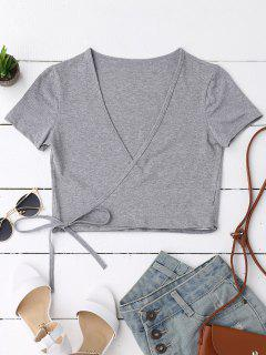 Cotton Wrap Cropped Top - Gray
