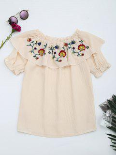 Floral Embroidered Patched Flounce Blouse - Apricot