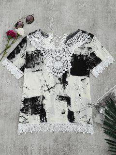 Lace Panel Tie Dye Blouse - White And Black Xl