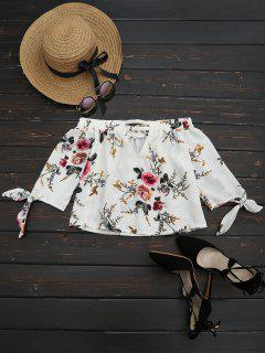 Off The Shoulder Floral Printed Blouse - White M
