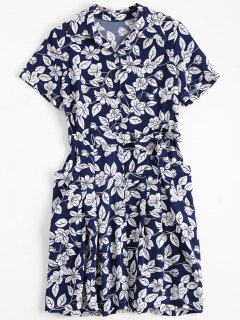 Floral Belted Vintage Shirt Dress - Floral L