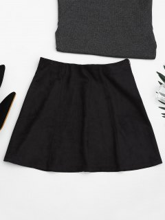 Faux Suede Mini A-Line Skirt - Black M