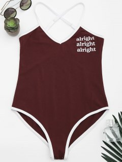 Cami Letter Criss Cross Bodysuit - Wine Red S