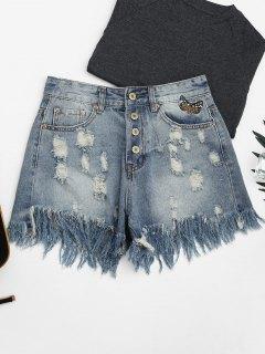Ripped Cutoffs Butterfly Bordado Denim Shorts - Denim Blue M