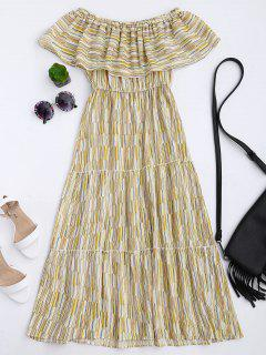 Striped Off The Shoulder Flounce Dress - Yellow