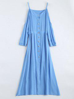 Maxi Cami Cold Shoulder Shirt Dress - Blue L