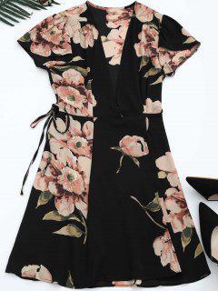 Self Tie Floral Printed Wrap Dress - Black S