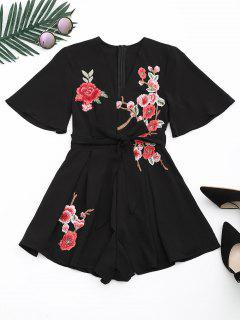 Floral Patched Plunging Neck Romper - Black L