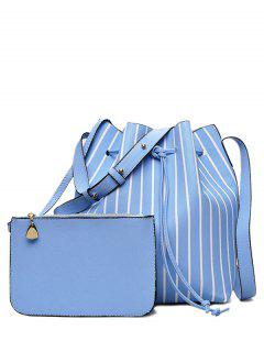 Pouch Bag And Striped Bucket Bag - Blue