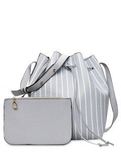 Pouch Bag And Striped Bucket Bag - Gray