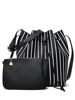 Pouch Bag And Striped Bucket Bag - Black