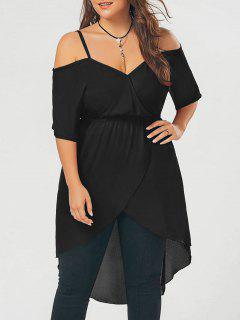 Plus Size Open Shoulder Long High Low Chiffon Top - Black 2xl