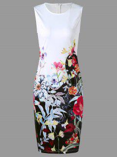 Robe Crayon Imprimé à Fleurs Sans Manches - Blanc Xl