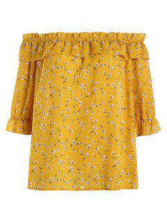 Plus Size Floral Ruffle Off The Shoulder Chiffon Top - Ginger 5xl