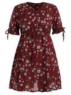 Plus Size Floral Chiffon Drawstring Mini Dress - Deep Red 5xl