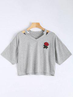 Floral Embroidered Cold Shoulder Top - Gray S