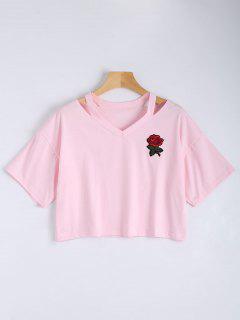 Floral Embroidered Cold Shoulder Top - Pink M