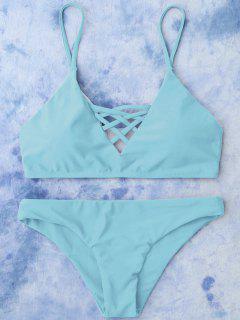 Lace Up Bikini Swimwear - Light Blue S