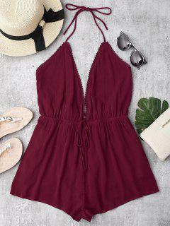 Plunge Halter Beach Cover Up Romper - Burgundy S