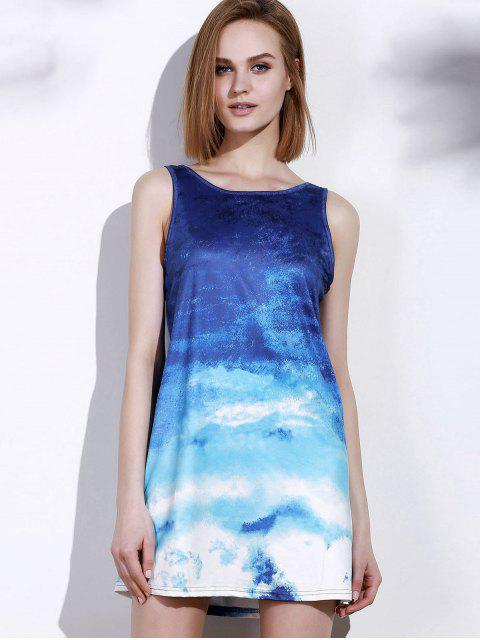 chic Ombre Print Sleeveless Dress - BLUE AND WHITE M Mobile