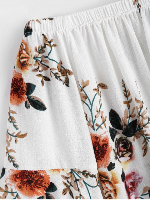 lady Floral Flare Sleeve Off Shoulder Top - WHITE S Mobile