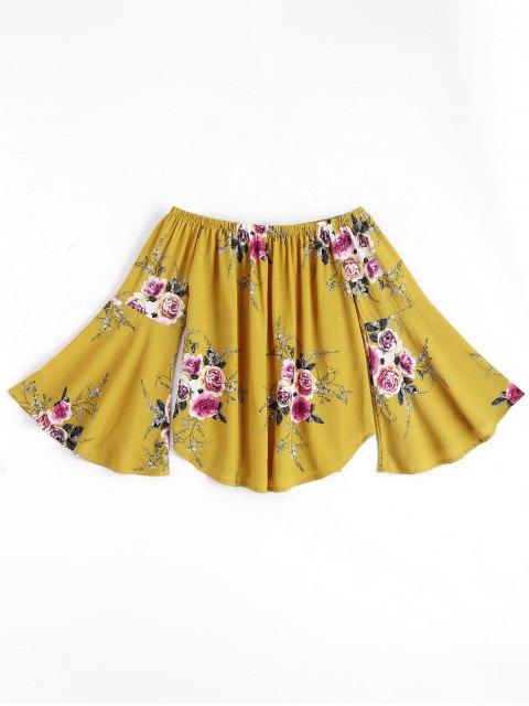 Haut floral à épaule dénudée manche évasée - Jaune S Mobile