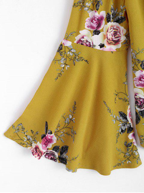 new Floral Flare Sleeve Off Shoulder Top - YELLOW S Mobile